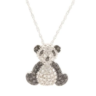 Sterling Silver Diamond Panda Necklace