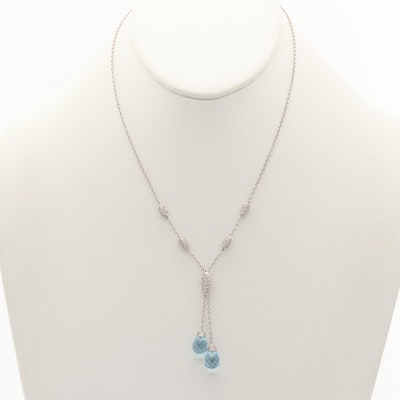 18K White Gold Topaz and 1.71 CTW Diamond Y-Necklace
