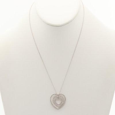10K and 14K White Gold Diamond Necklace