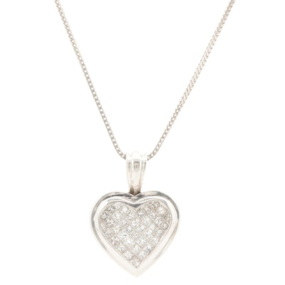 14K White Gold 1.05 CTW Diamond Heart Pendant Necklace