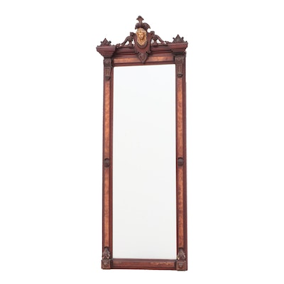 Renaissance Revival Walnut and Burlwood Pier Mirror, Late 1800s