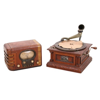 Victrola Gramophone and Zenith Long Distance Radio, Early 20th Century