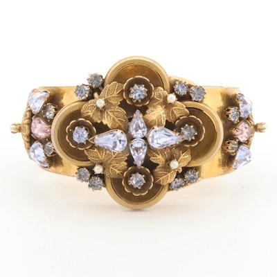 Glass Crystal Leaf Motif and Filigree Cuff Bracelet