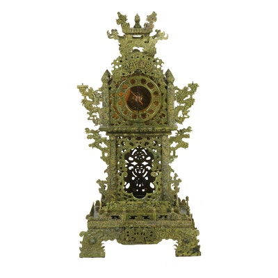 Chinese Ornately Carved Serpentine Stone Clock