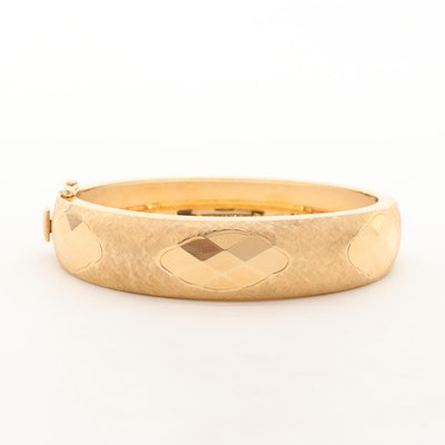 14K Yellow Gold Textured Bracelet
