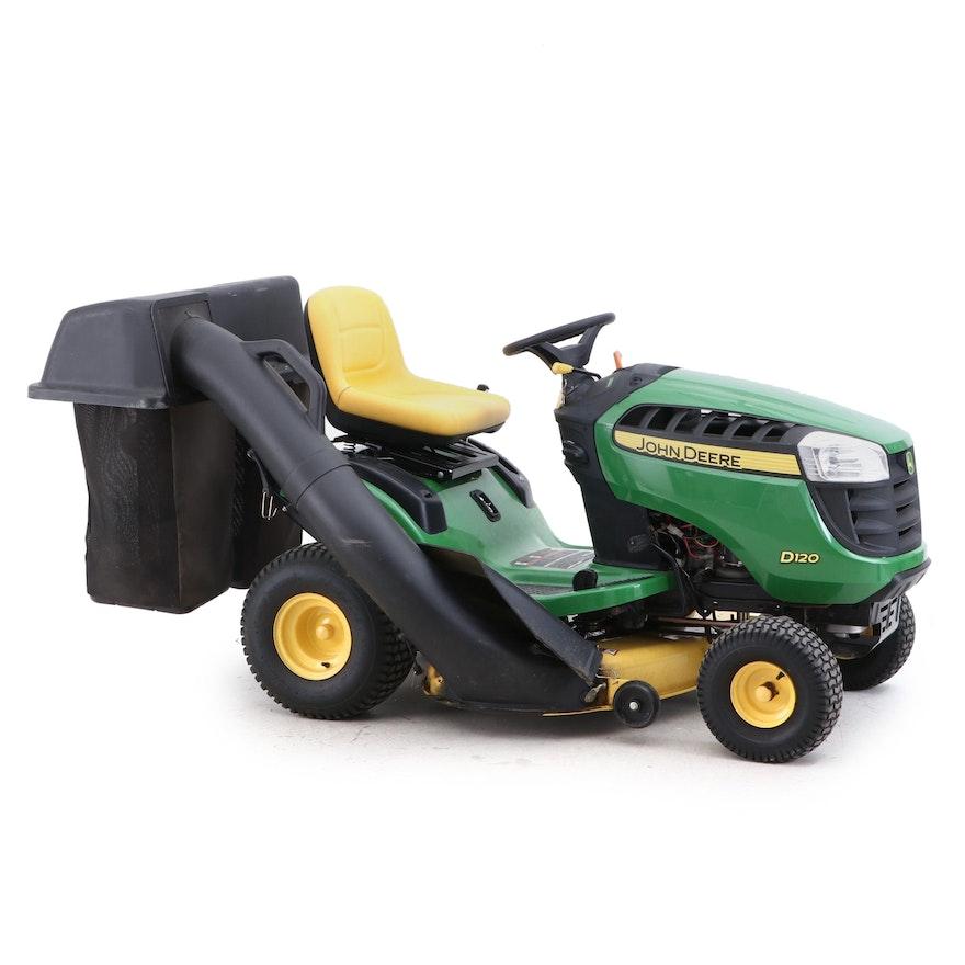 John Deere D120 Riding Lawn Mower And Bag Attachment