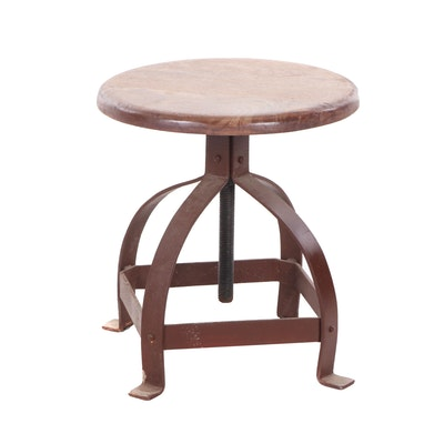 Industrial Painted-Metal and Wood Adjustable Stool
