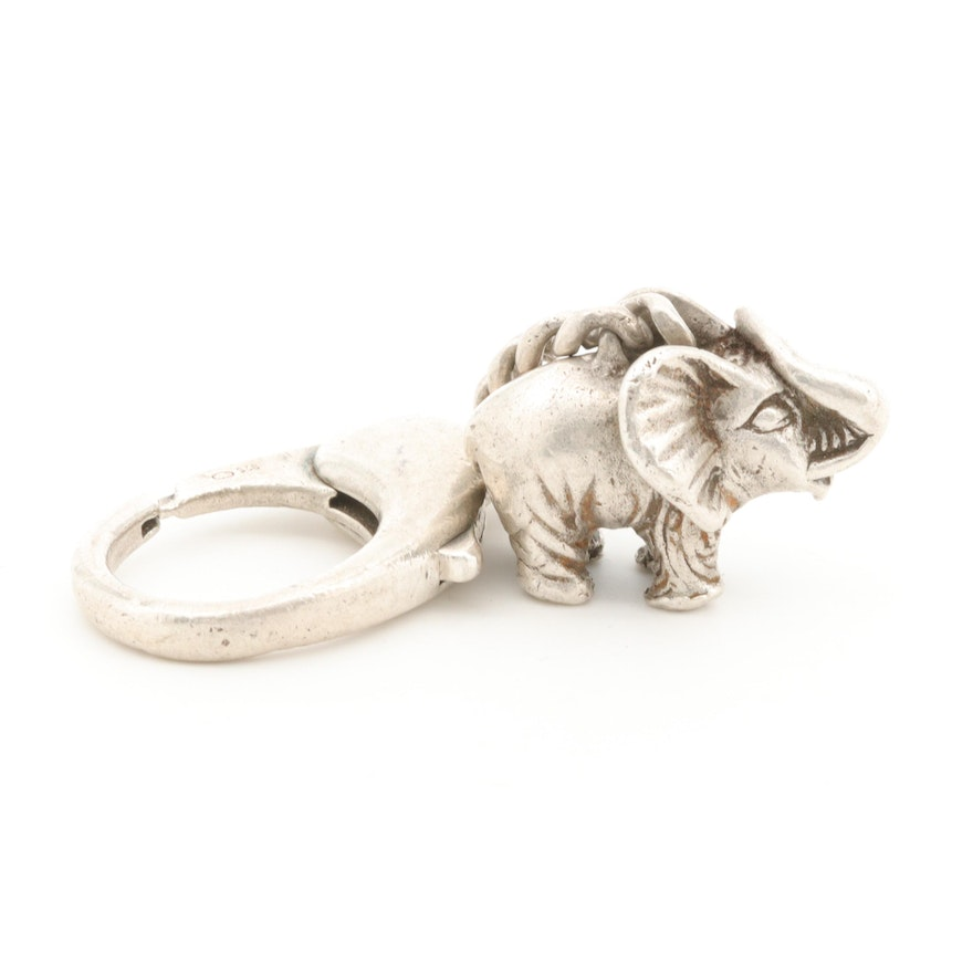 C'est Laudier Sterling Silver Elephant Keychain