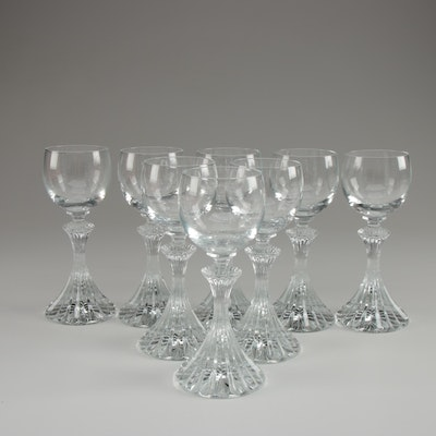 Contemporary Crystal Cordial Glasses with  Fluted Stems