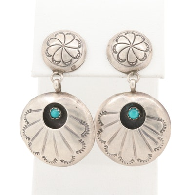 Southwestern Style Sterling Silver Imitation Turquoise Dangle Earrings
