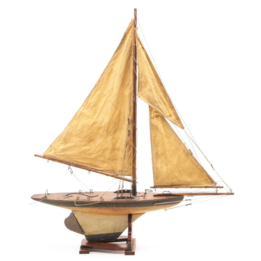 Handcrafted Wooden Model Yacht, Vintage