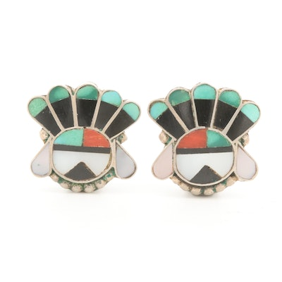 Southwestern Style Sterling Turquoise, Coral and Mother of Pearl Inlay Earrings