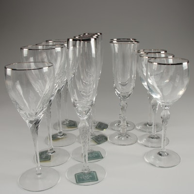 Lenox Platinum Rimmed Goblets and Flutes with Other Platinum Rimmed Flutes