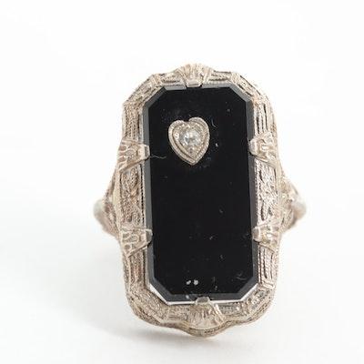 Vintage 14K White Gold Black Onyx and Diamond Ring