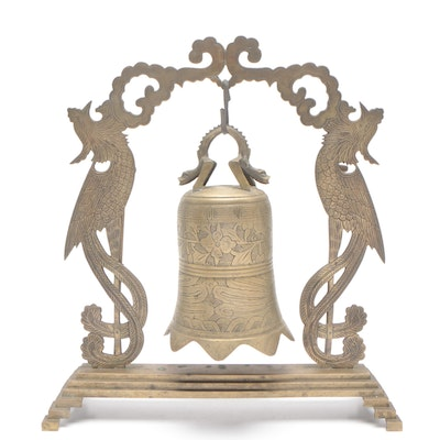 Chinese Phoenix Motif Brass Bell On Stand