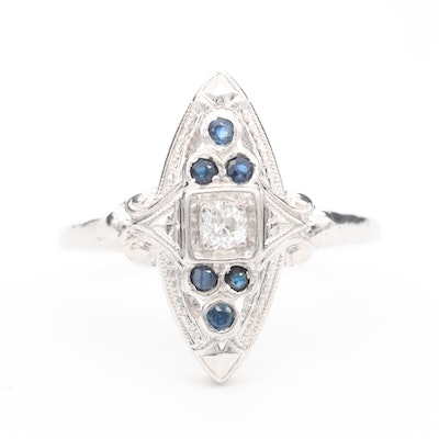 14K White Gold Diamond and Sapphire Ring with Palladium Top