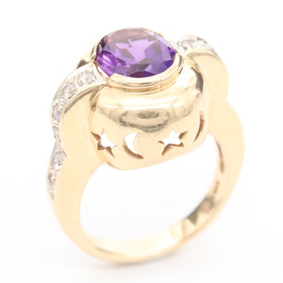 14K Yellow Gold Amethyst and White Topaz Ring