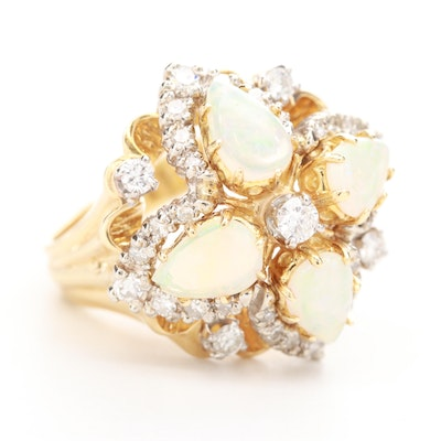 18K Yellow Gold Opal and 1.02 CTW Diamond Ring