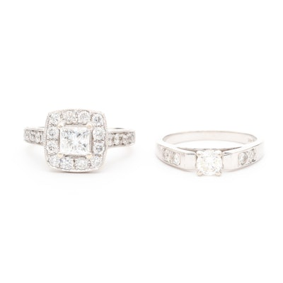 14K White Gold Diamond and Cubic Zirconia Ring