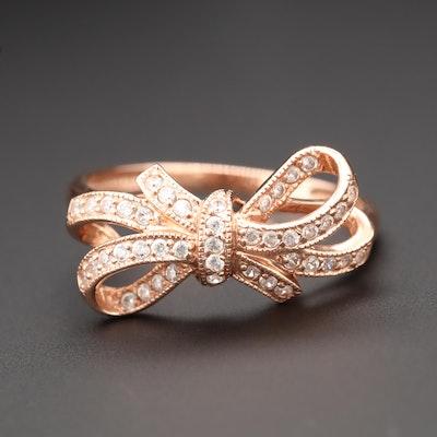 14K Rose Gold Cubic Zirconia Ribbon Ring