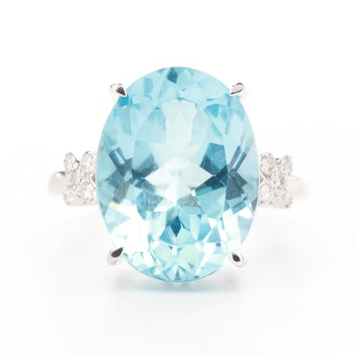 14K White Gold 11.51 CT Blue Topaz and Diamond Ring