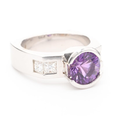 14K White Gold Amethyst and 1.00 CTW Diamond Ring