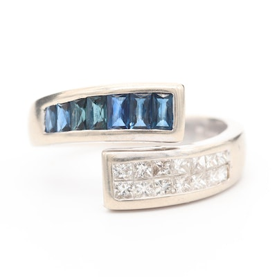 14K White Gold Diamond and Sapphire Bypass Ring