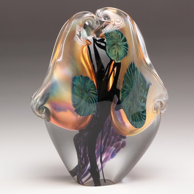 David Lotton Signed Hand-Blown Glass Sculpture Vase, Circa 1970s-1980s