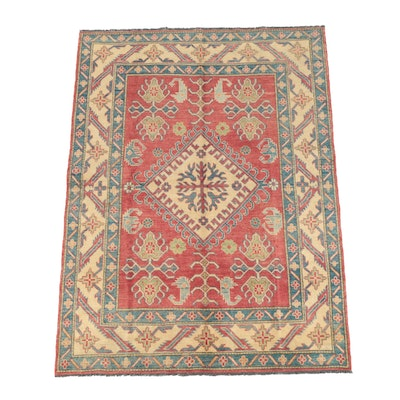 Hand-Knotted Pakistani Kazak Wool Area Rug