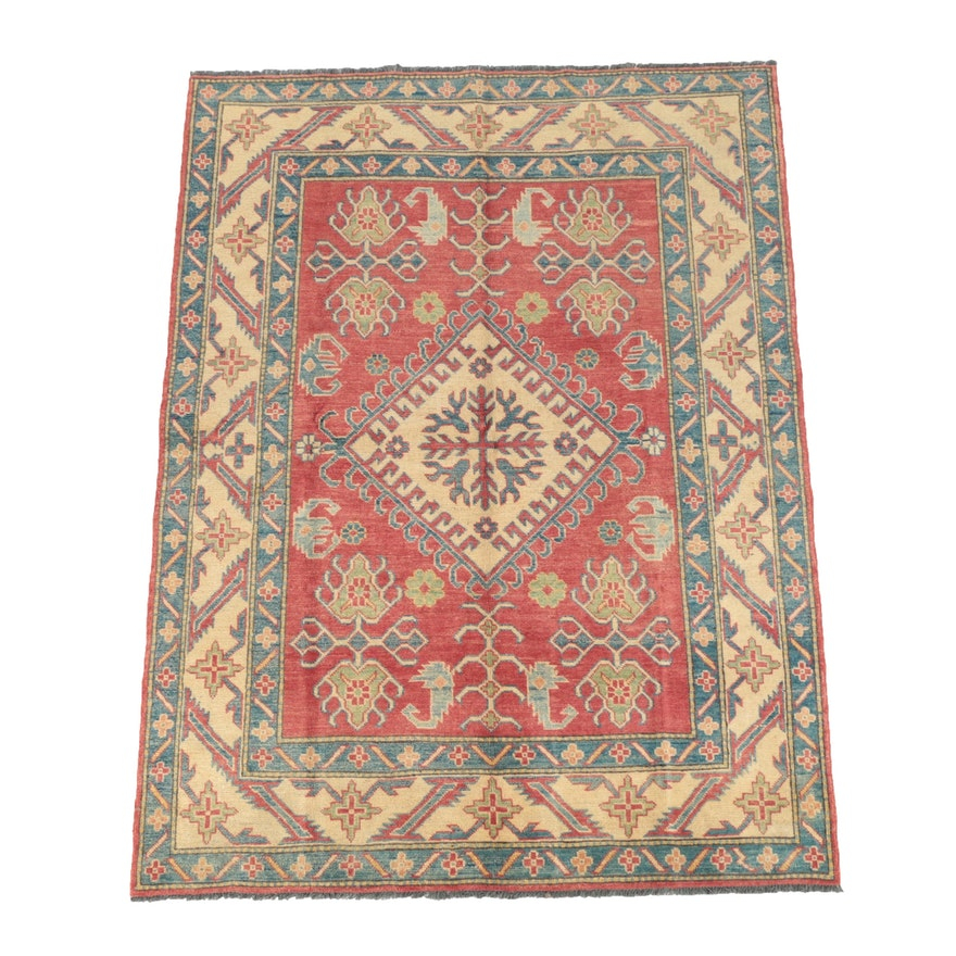 Hand-Knotted Pakistani Kazak Wool Area Rug