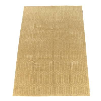 """Hand-Knotted and Carved Indian """"Echo"""" Geometric Wool Area Rug"""