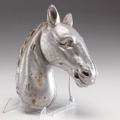 Spelter Horse Head Top to Hitching Post, Early 20th-Century to Mid-Century
