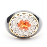 18K Yellow Gold Sapphire and Diamond Ring With 14K White Gold Setting