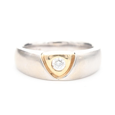 14K White Gold and 14K Yellow Gold Diamond Ring
