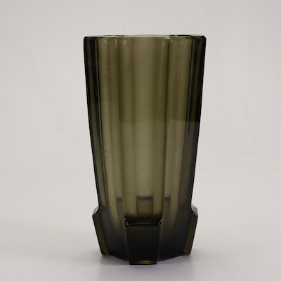 Josef Hoffmann Modernist Faceted Smoke Glass Vase, Early 20th Century