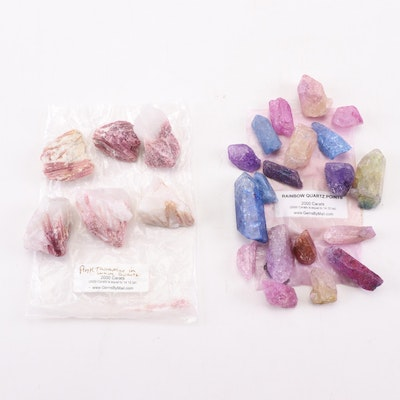 Rainbow Quartz and Pink Tourmaline Quartz Specimens