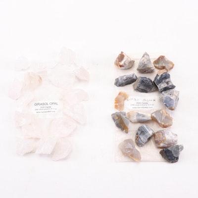 Girasol Opal and Brazil Agate Specimens