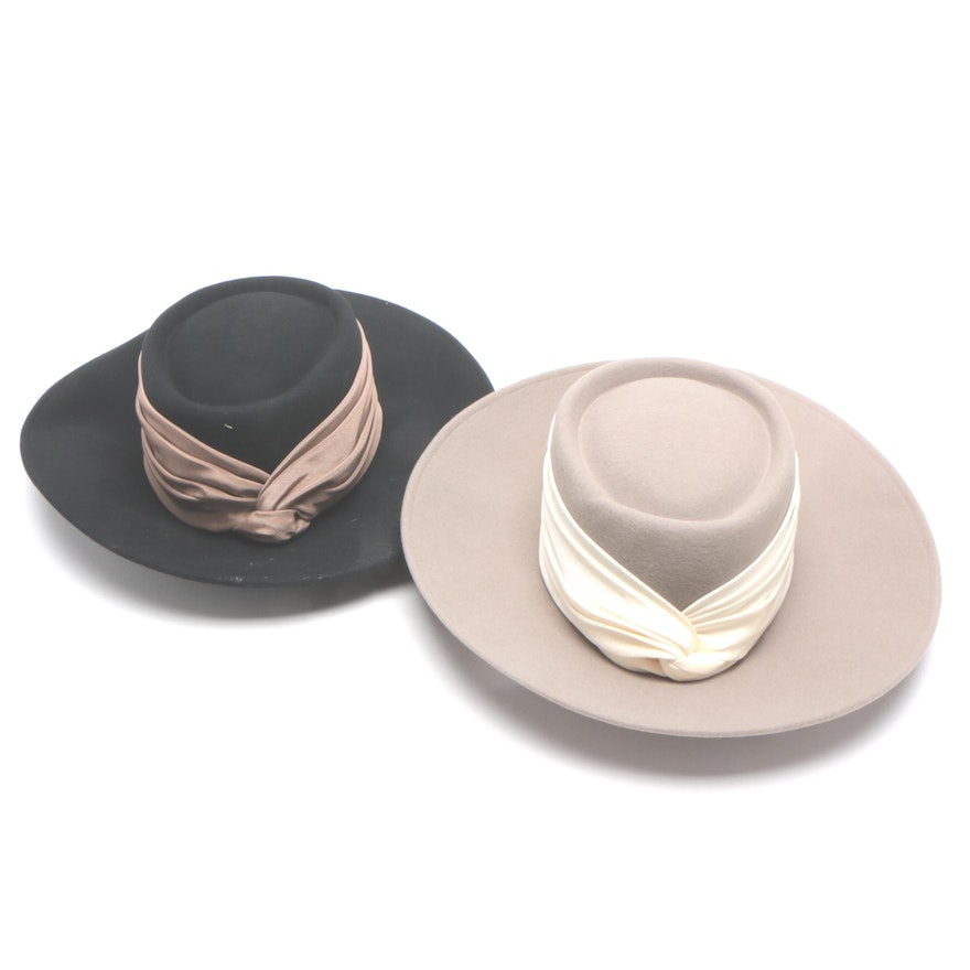 Whittall & Shon Wool Felt Hat in Black and Taupe