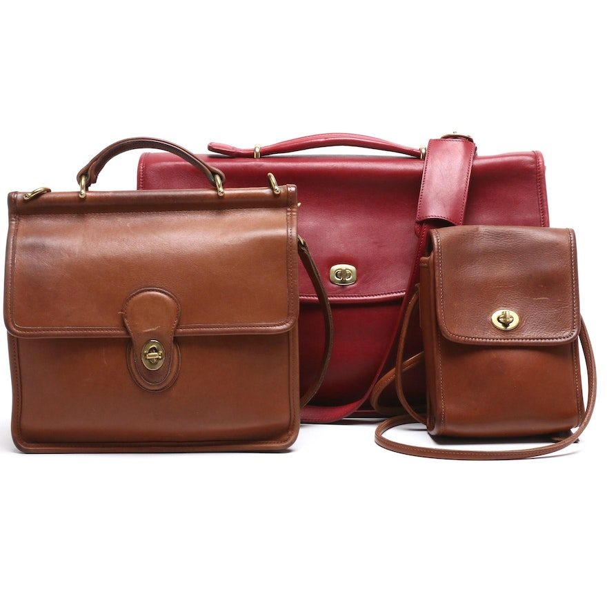 Coach Red Legacy Leather Lexington Briefcase and British Tan Leather Bag