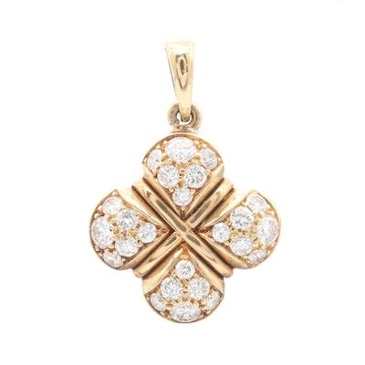 18K Yellow Gold Diamond Quatrefoil Pendant