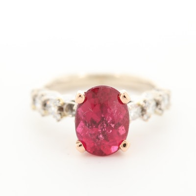 14K White Gold Pink Tourmaline and Diamond Ring with Rose Gold Head