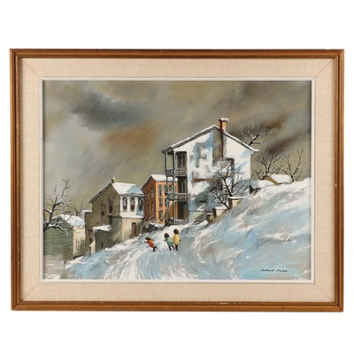 "Robert Fabe Oil Painting ""December Day"""