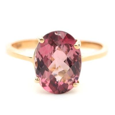 14K Yellow Gold Pink Tourmaline Ring