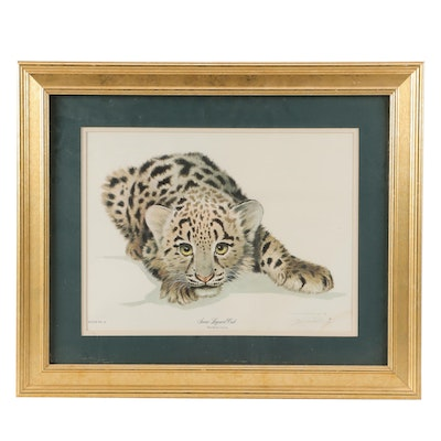 "Offset Lithograph after Jim Oliver ""Snow Leopard Cub"""