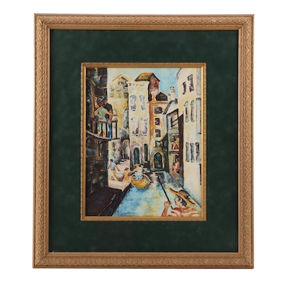 J. Shayback Watercolor of The Grand Canal in Venice