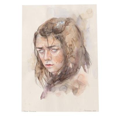 Samovar Watercolor Painting of Arya Stark