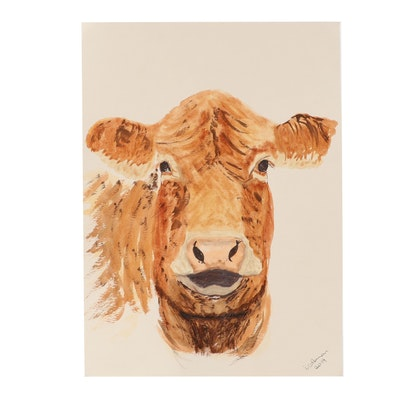 D. Coleman Cow Portrait Watercolor Painting