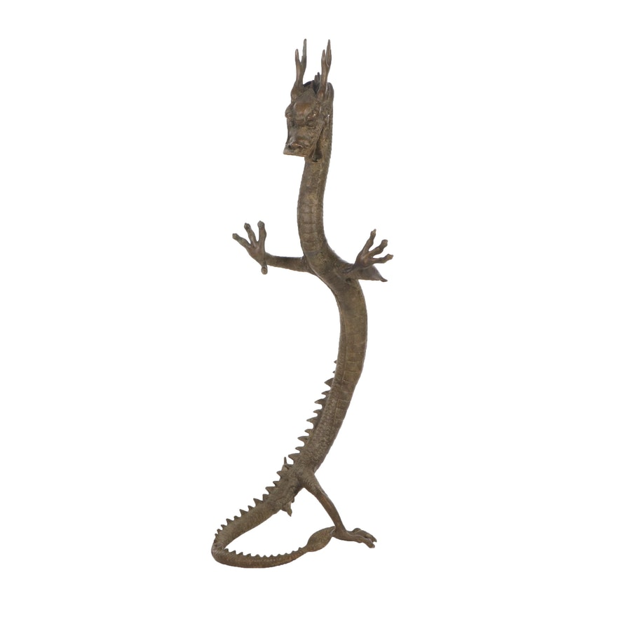 Chinese Brass Dragon Sculpture