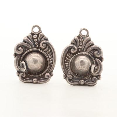 Margot de Taxco Sterling Silver Drop Jackets Earrings