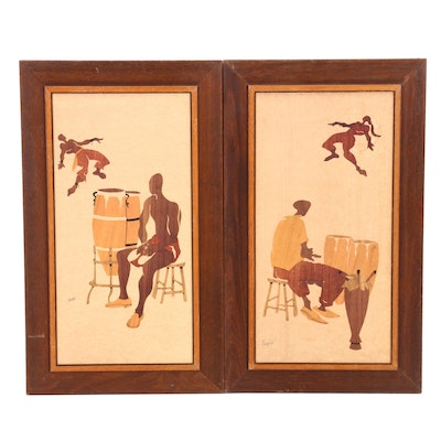 Offset Lithographs after Wooden Inlay Panels
